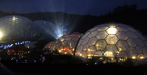 Eden Project Night View With Laser