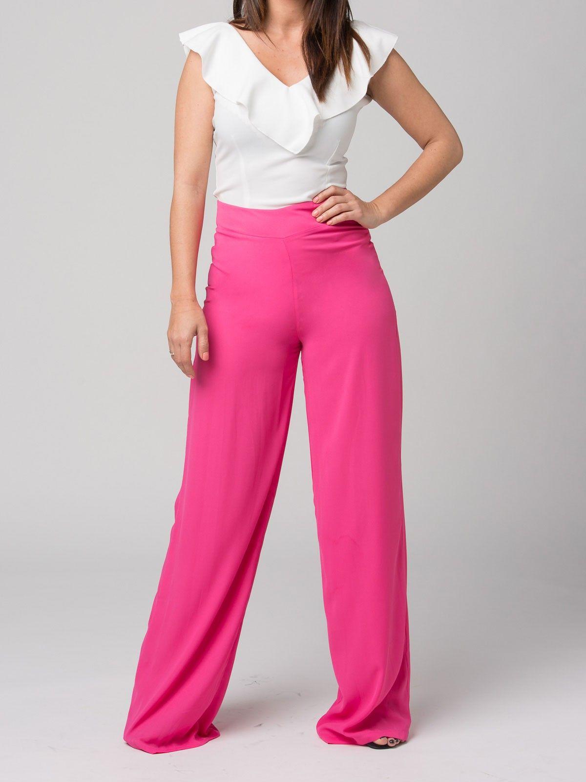 Pantalón Sibila - Pantalón palazo en color fucsia. Tiro alto. Cierre ...