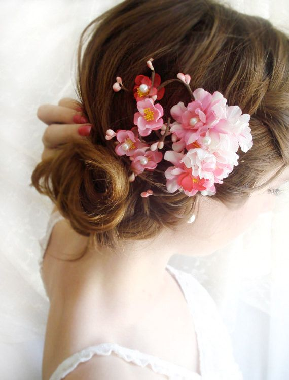 Hot Pink Cherry Blossom Hair Clip Devotedly Bridal Etsy Pink Flower Hair Pink Flower Hair Clip Pink Hair Clips