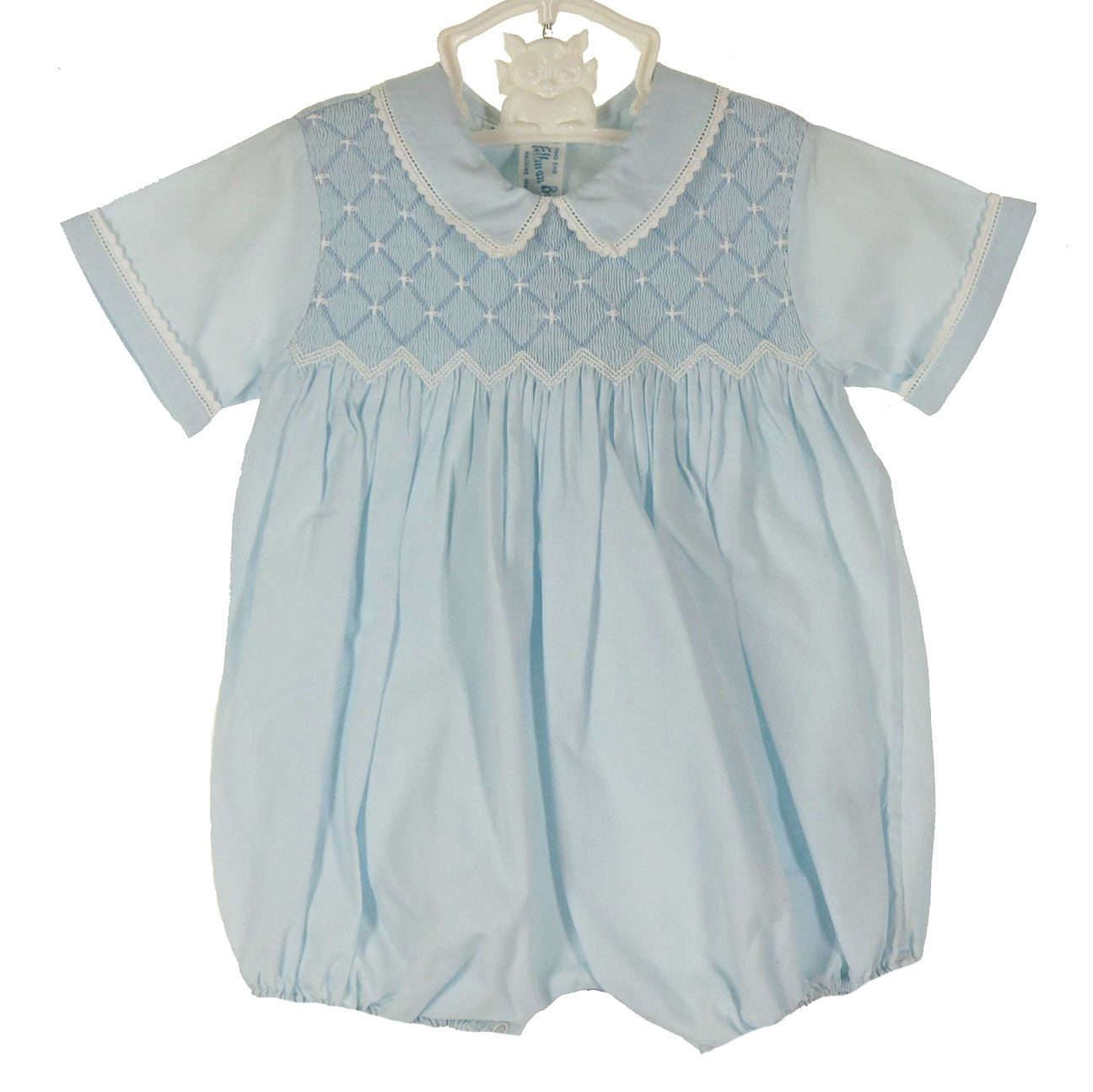 NEW Feltman Brothers Blue Smocked Romper with Back Ties $60.00 #FeltmanBrothersRomper