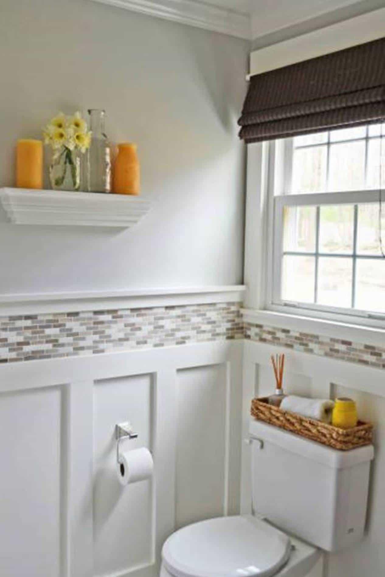 Wainscoting Interior Bathroom Design With Top Tiles : Bathroom ...