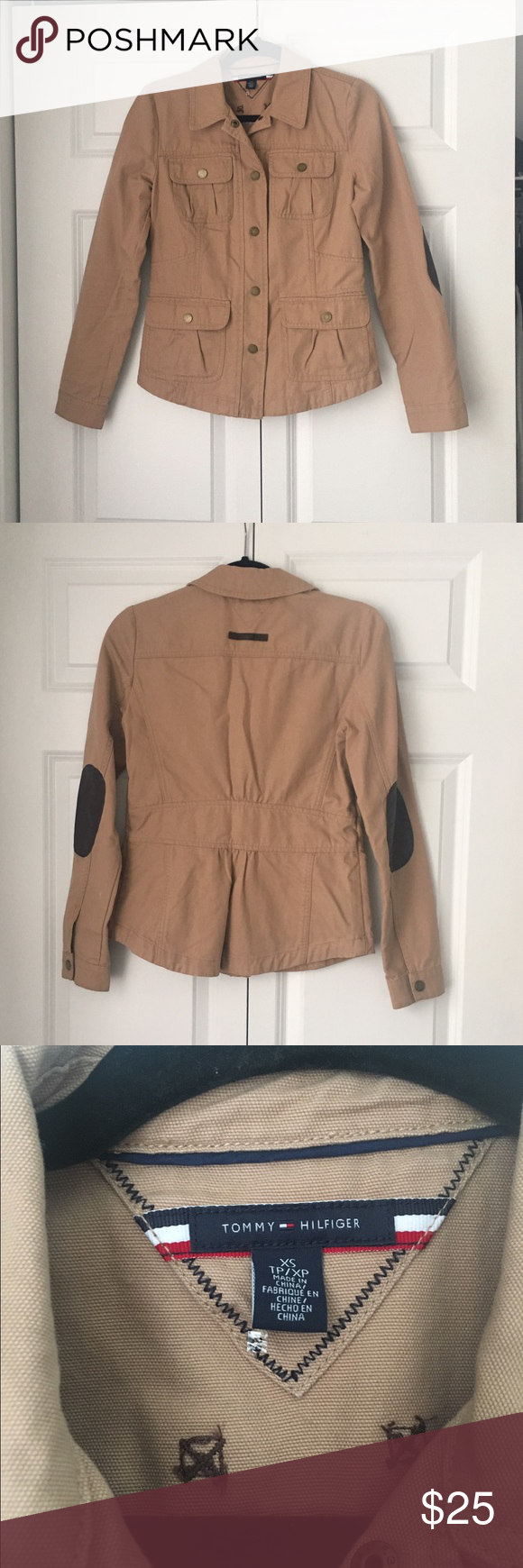 Tommy Hilfiger Cotton Twill Jacket Tan Size XS 0 Tommy Hilfiger Cotton Twill Jacket Tan Size XS Please look at all pictures, there is a small pink stain on one of the sleeves. Other than that it is in great condition! Tommy Hilfiger Jackets & Coats Utility Jackets
