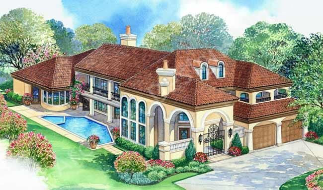 Villa zeno house plan house plan tuscan front for Tuscan villa house plans