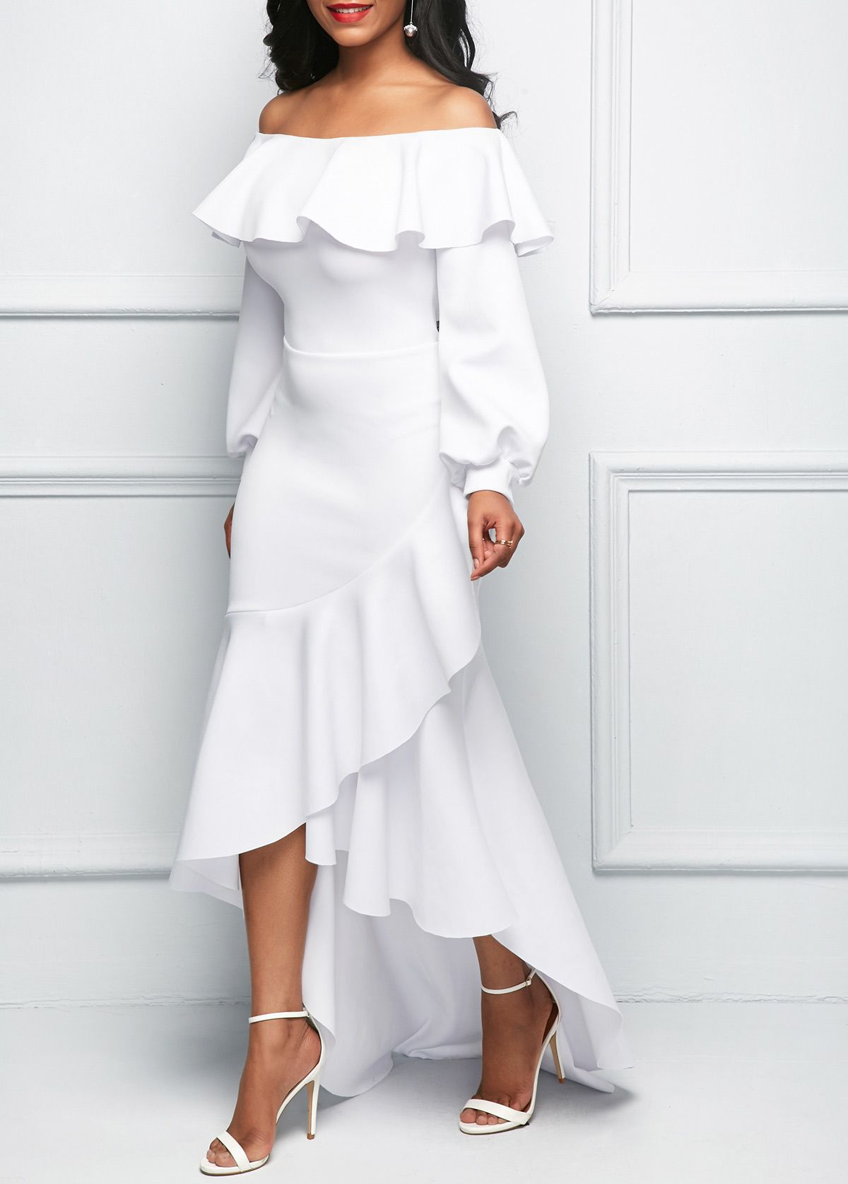 0eab5564a8c62 Lantern Sleeve Asymmetric Ruffle Hem White Dress | Rosewe.com - USD ...