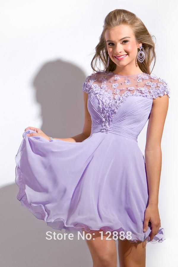 812296996 homecoming dresses for juniors kohl's light purple flowers | Flowers Free  Shipping Lilac Chiffon Short Sleeve Cocktail Prom Dress .