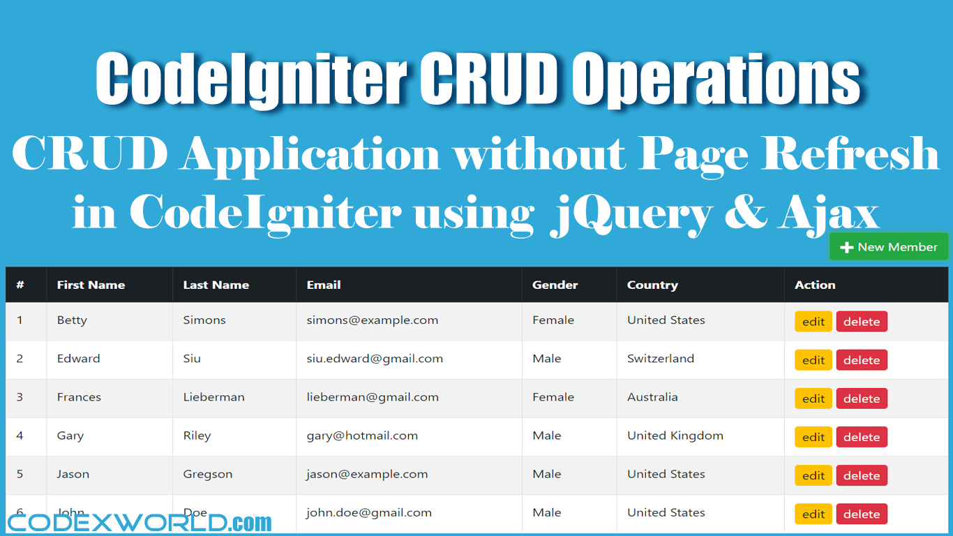 CodeIgniter CRUD Operations without Page Refresh using