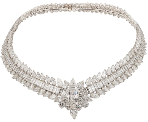 Van Cleef & Arpels Platinum Diamond Necklace. Center stone approx. 5 1/2cts. + 110cts. of diamonds