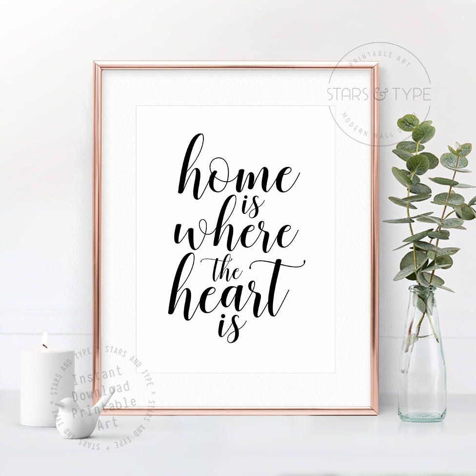 Home Is Where The Heart Is Printable Wall Art Love Quote Home