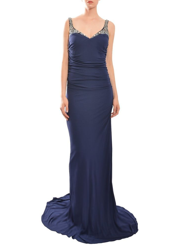 BADGLEY MISCHKA Intricately Beaded Navy Blue Ruched Evening Gown ...