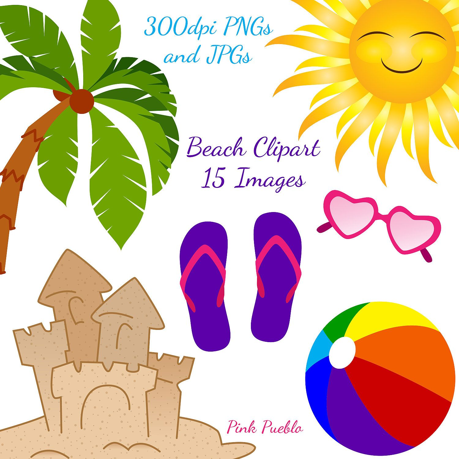 beach clipart clip art ocean summer vacation clipart clip art commercial and personal use 6 00 via etsy  [ 1500 x 1500 Pixel ]