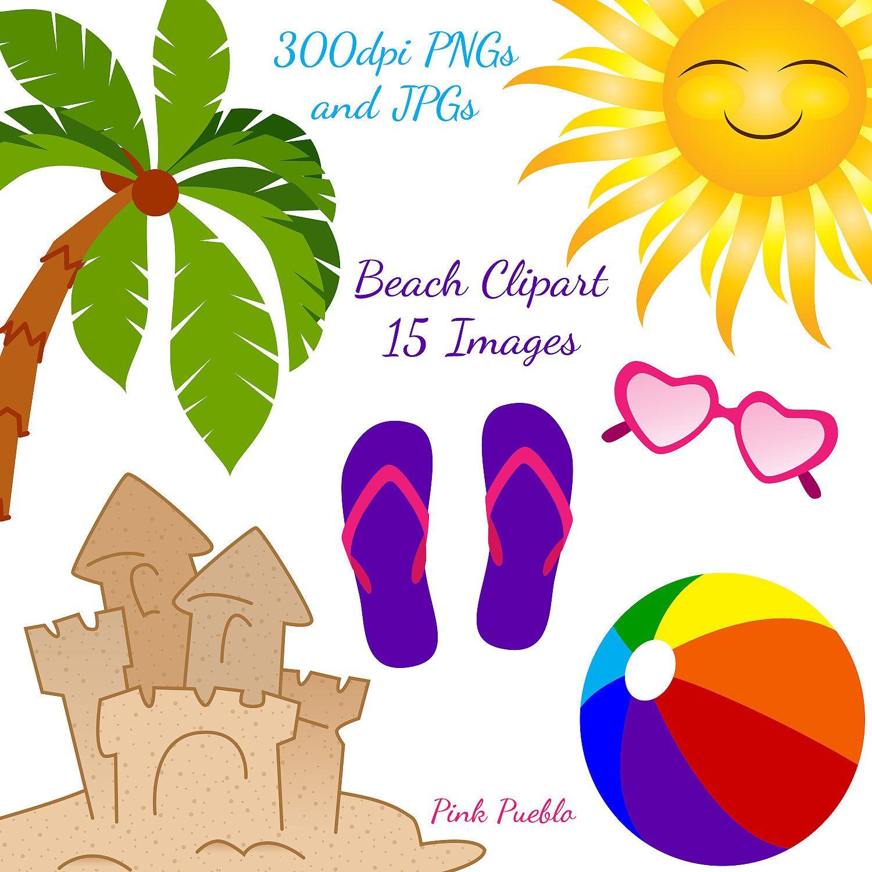 medium resolution of beach clipart clip art ocean summer vacation clipart clip art commercial and personal use 6 00 via etsy