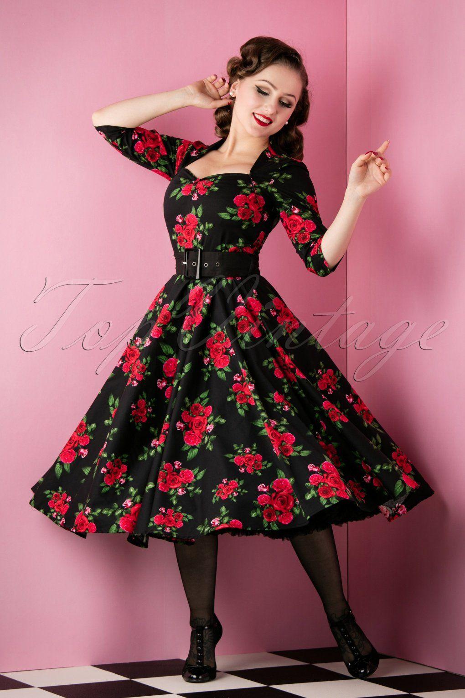 18eff40b3c2e 500 Vintage Style Dresses for Sale Eternity 50s Black Swing Dress Red Roses  £62.13 AT vintagedancer.com