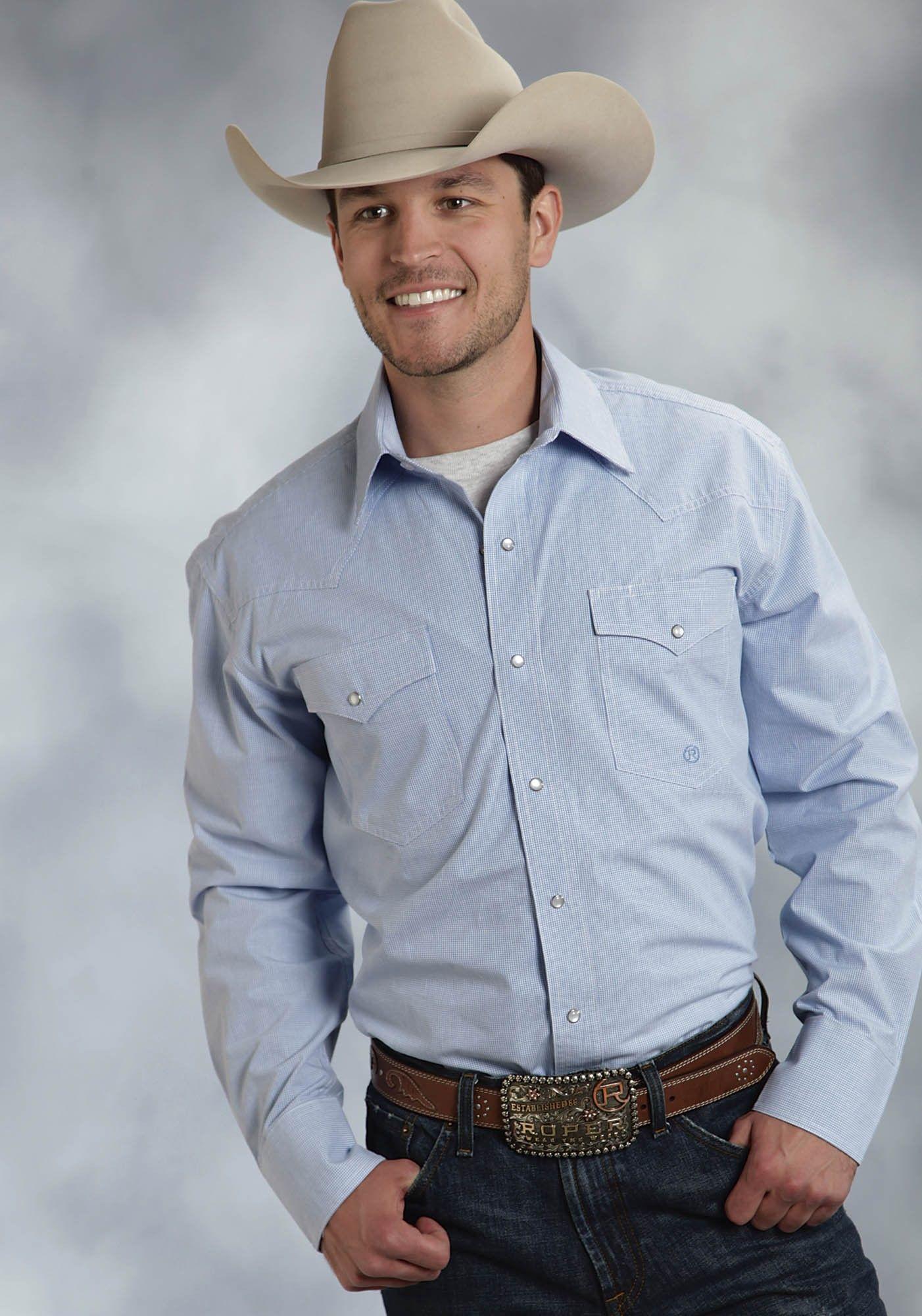 4479c7bc7c Roper® Men s Blue Mini Check Long Sleeve Pearl Snap Cowboy Shirt ...