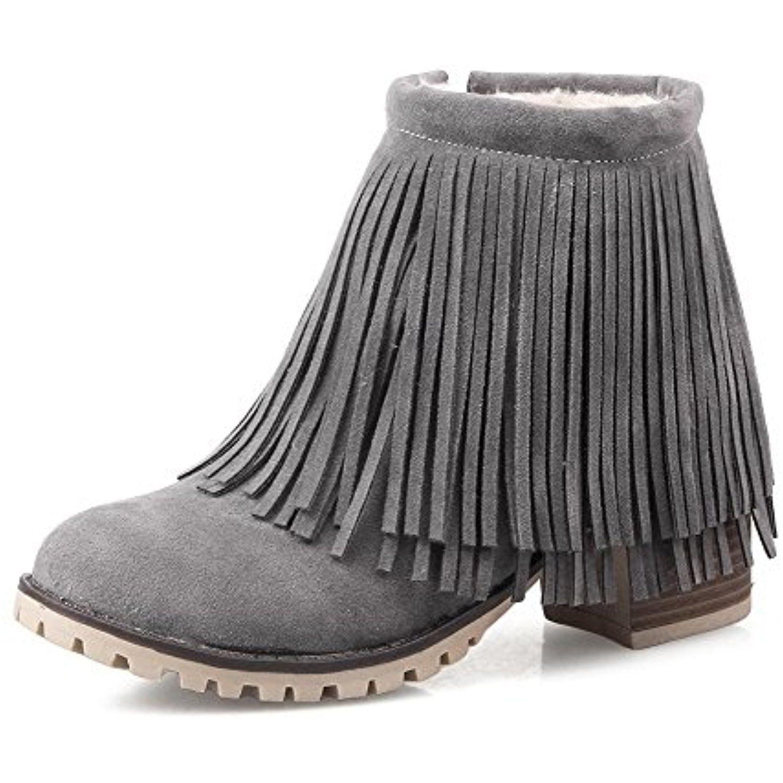 Women's Low top Solid Zipper Round Closed Toe Kitten-Heels Boots