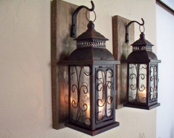 Wall sconce wooden sconcesset of two sconces bathroom decor home wall sconce wooden sconcesset of two sconces bathroom decor home and living wrought iron rustic wood boards bedroom decor farmhouse aloadofball Image collections