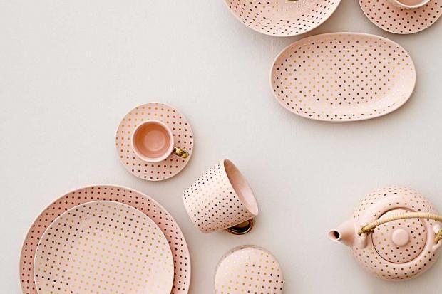 tee service lovely henrietta in rosa mit goldenen punkten copper rosegold pastells. Black Bedroom Furniture Sets. Home Design Ideas