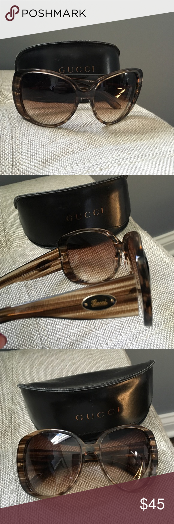 Gucci sunglasses Gucci oversized sunglasses, tortoise color stripe with sparkle.  Wrap around feel, comes with original case and cleaning wipe! Gucci Accessories Sunglasses