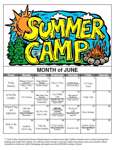Monday Daily Activity Schedule  Summer Camp  Club Fit Briarcliff