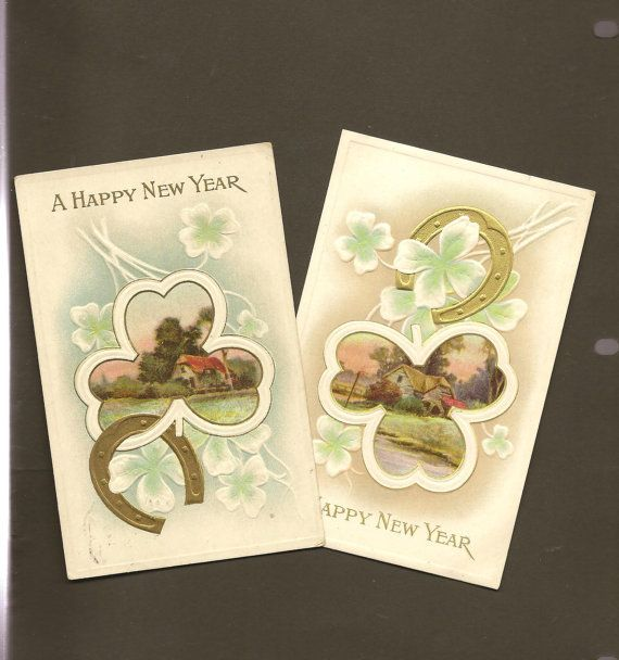 Pair of Vintage New Years Postcard Gold Horses by TheOldBarnDoor