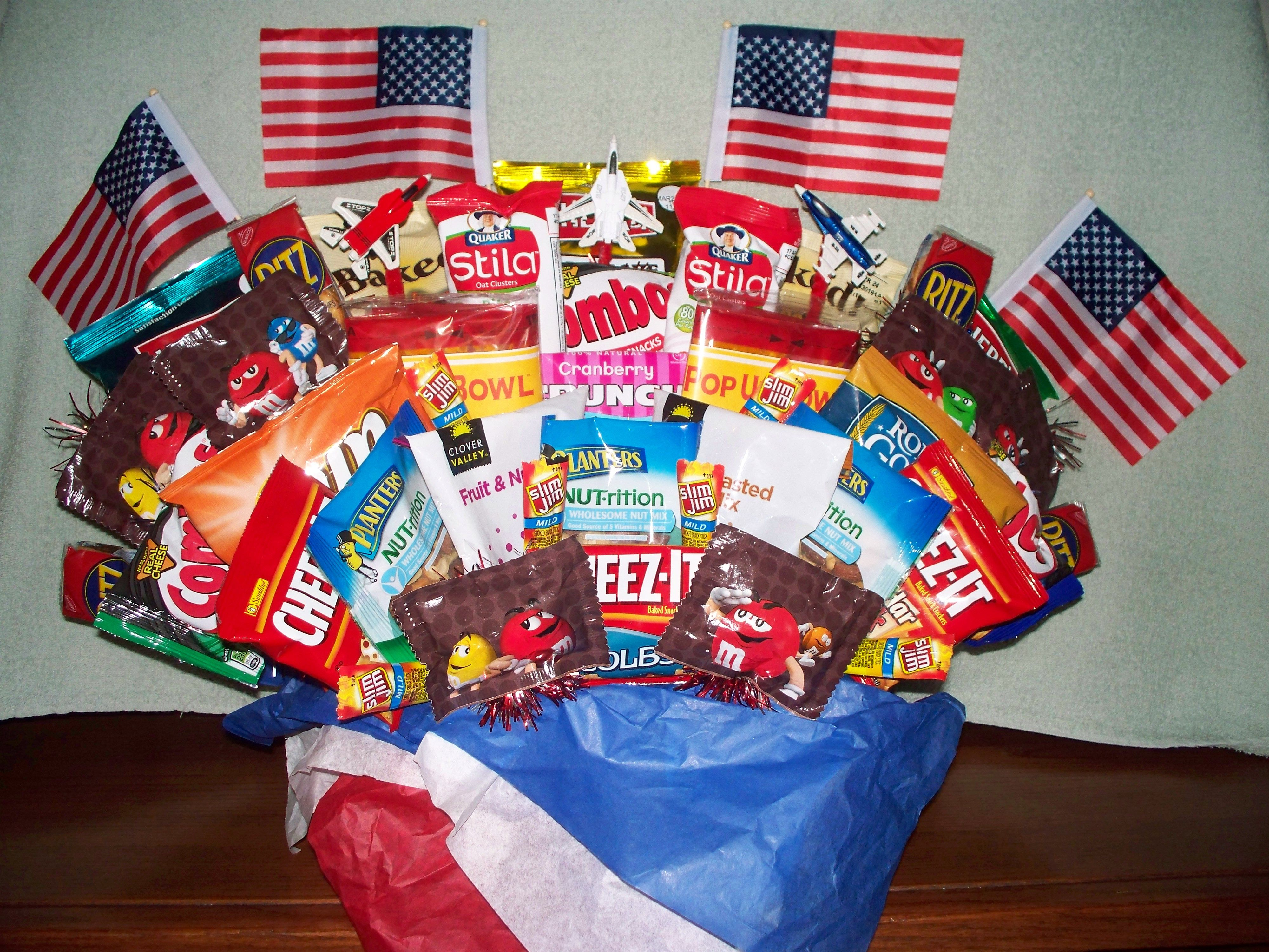 A snack basket for an airman returning home after his tour