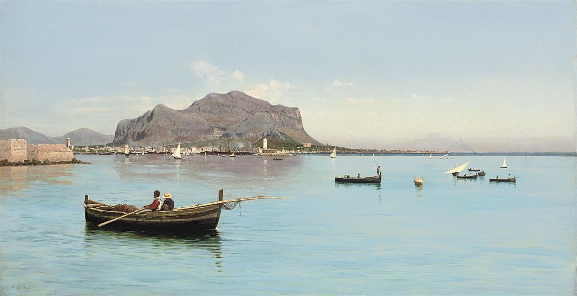 Francesco Lojacono (18411915) Fishermen Before The Monte