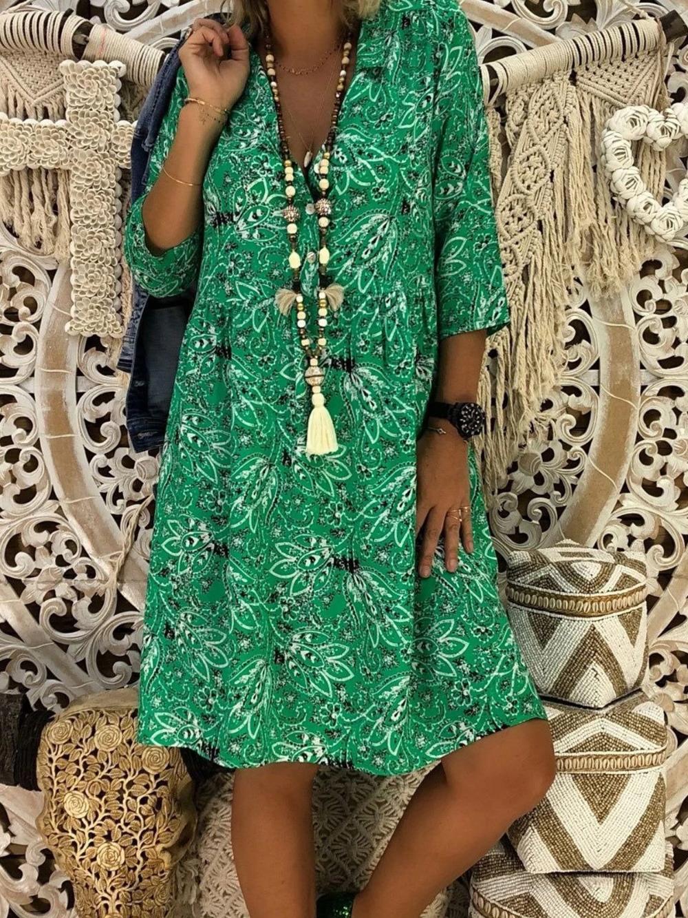 Women Floral 3 4 Sleeve Deep V Neck Loose Bohemia Dress Sclinen Midi Dress With Sleeves Bohemian Maxi Dress Shift Dress [ 1333 x 1000 Pixel ]