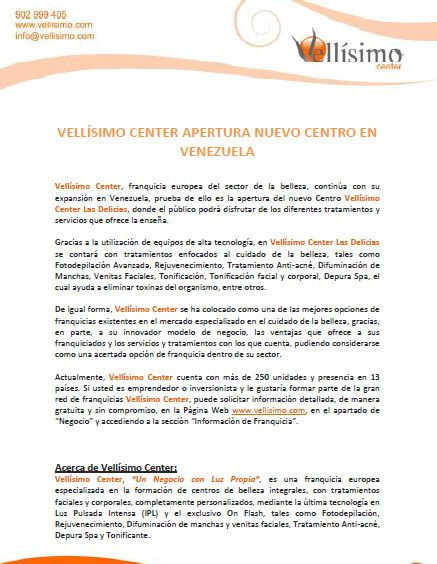 Vellisimocenter apertura nuevo centro en #Venezuela