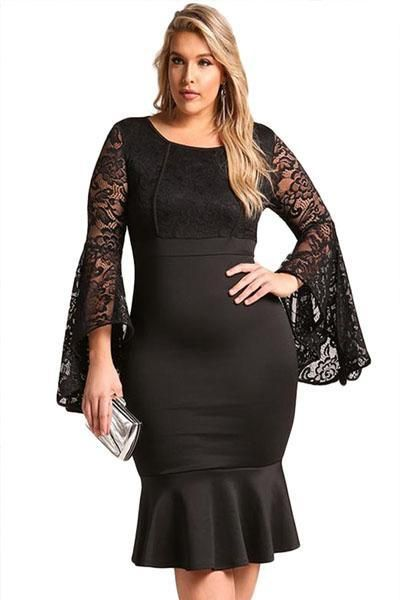 8b44332b76d Surplice Draped Faux Wrap Midi Dress. Lace Mermaid Bodycon Midi Dress   plussize  soofabfashion  minidress  fallfashion  blackdress Black