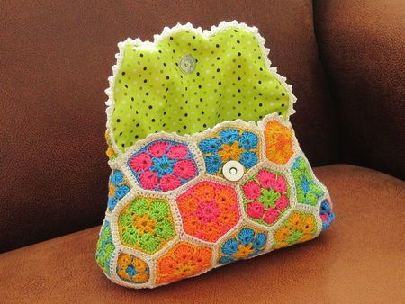 Crochet african flower bag purse clutch...picture only