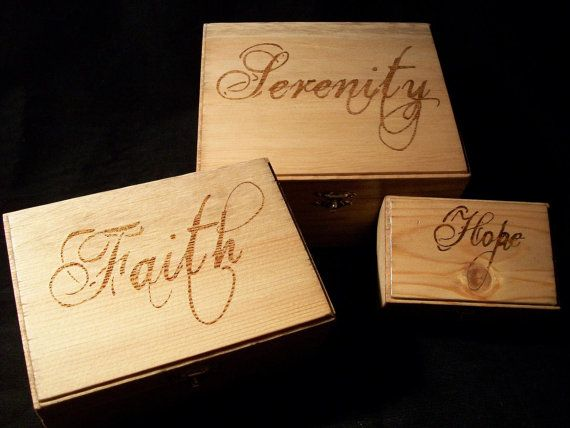 Serenity Faith and Hope Wooden Nesting Boxes by Zmadkitty on Etsy, $40.00