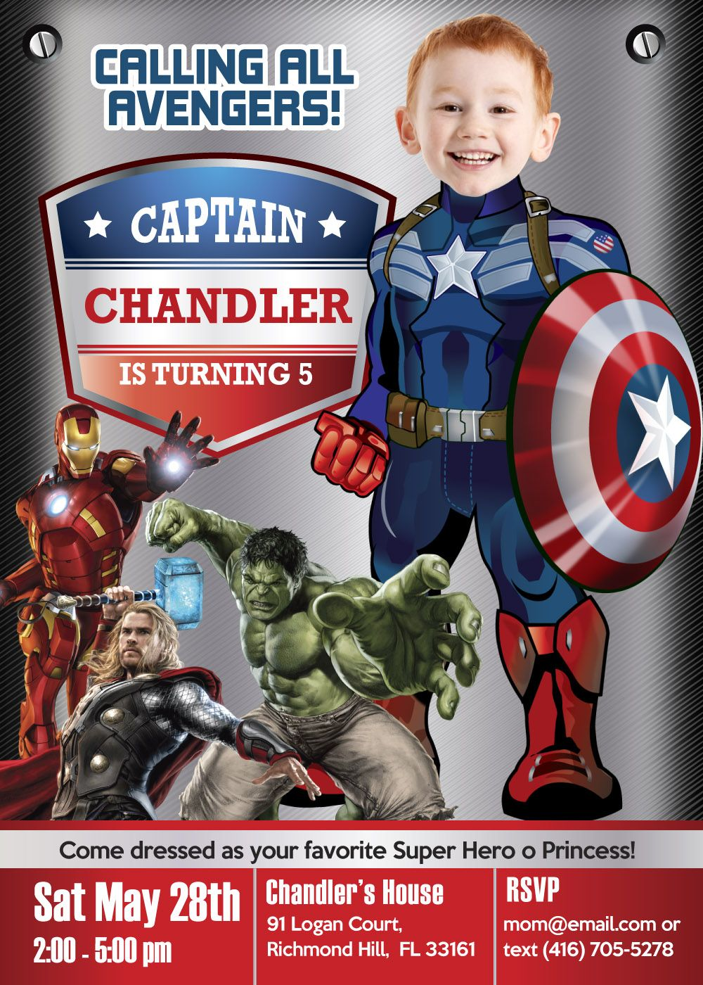 invitation captain america birthday