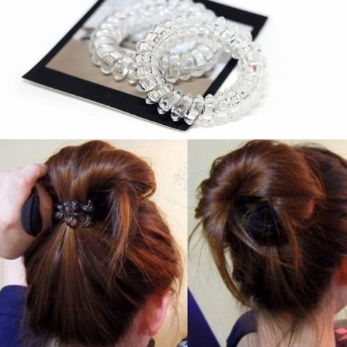 Wholesale 6Pcs Clear Elastic Rubber Hairband Hair Ties Spiral Slinky Rubber  Rope 875c546fd9d