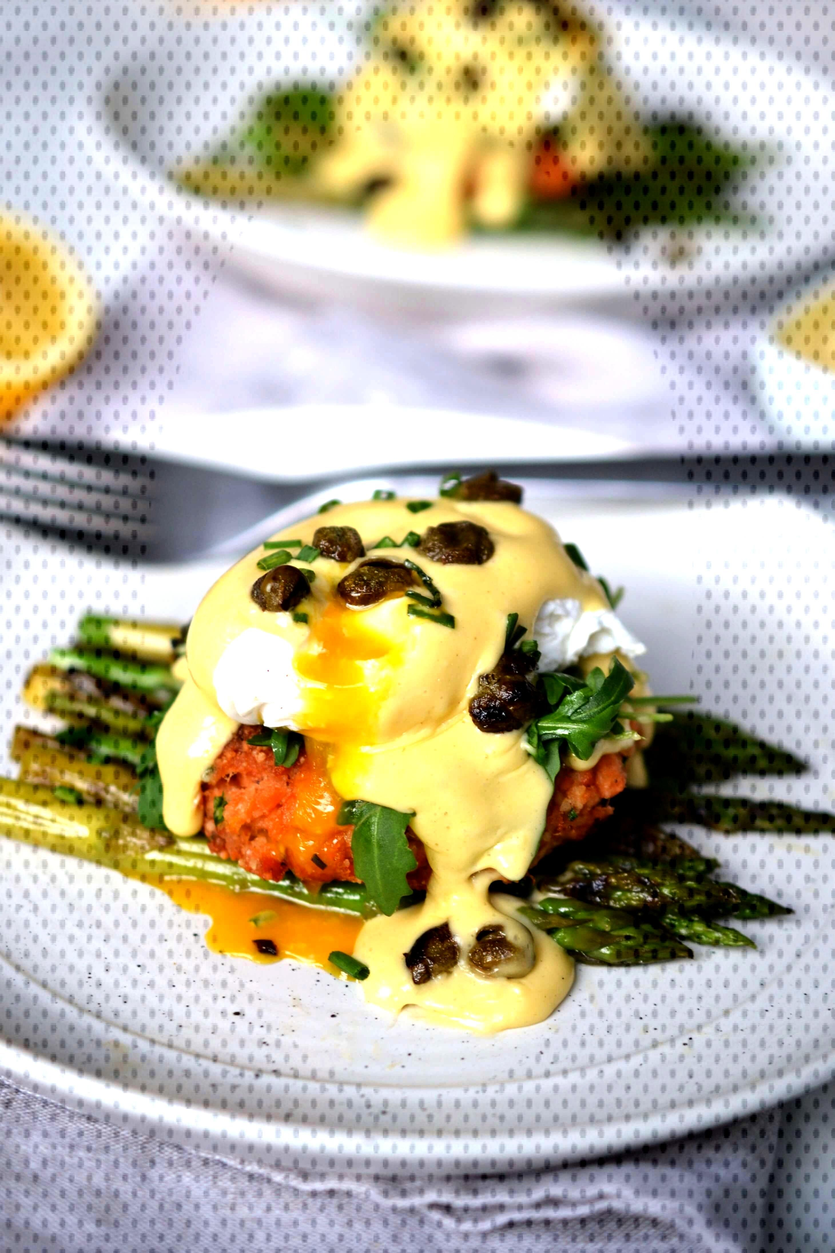 Salmon Cake Eggs Benedict with Lemon Hollandaise amp Crispy Capers | Every Last Bite - Salmon Cake E