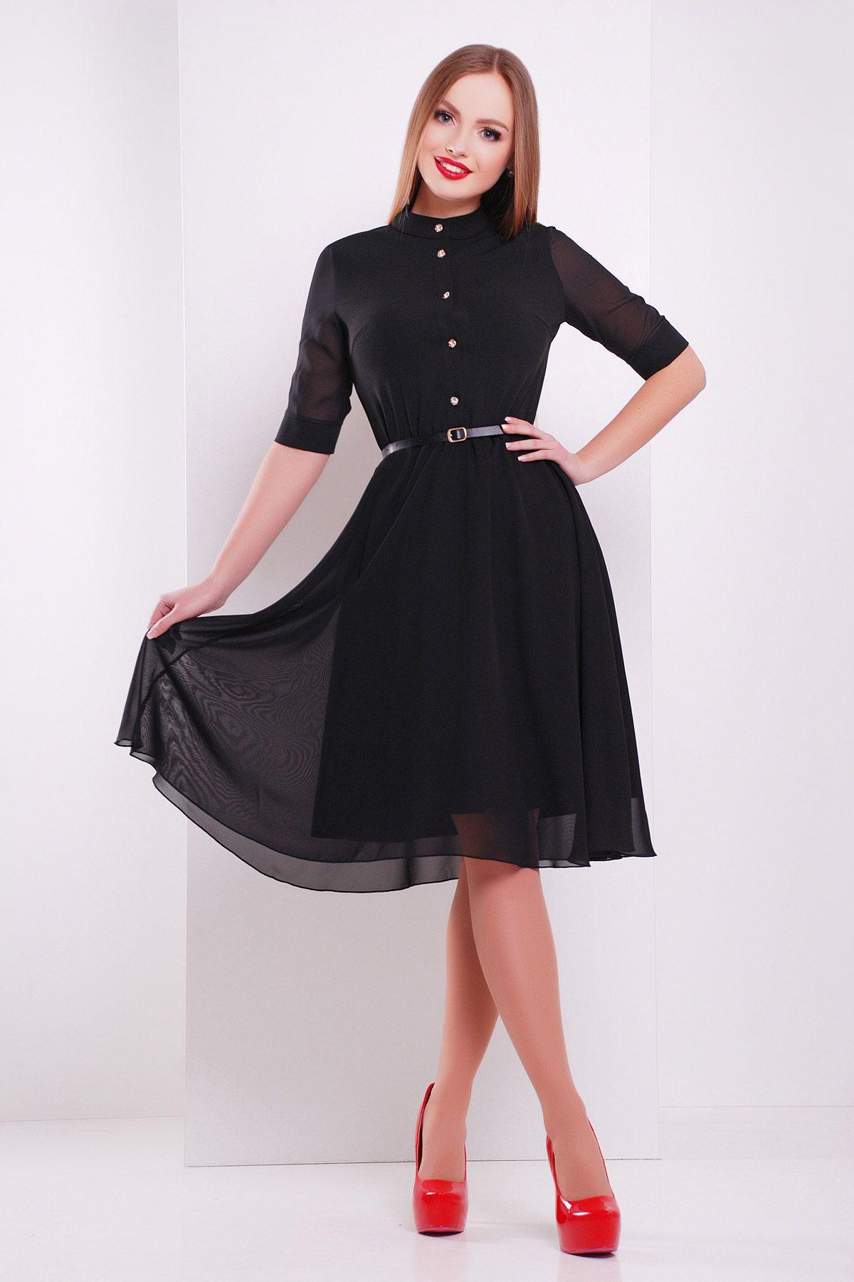 3765ce6ed13 Черное платье на весну-лето с юбкой солнце. платье Лавена к р. Цвет  черный