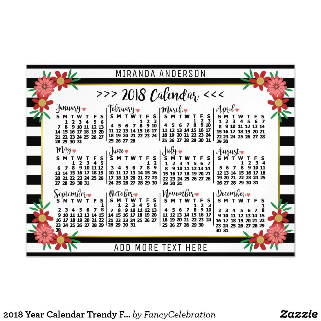 2018 Year Calendar Magnets with Trendy Floral Stripes and