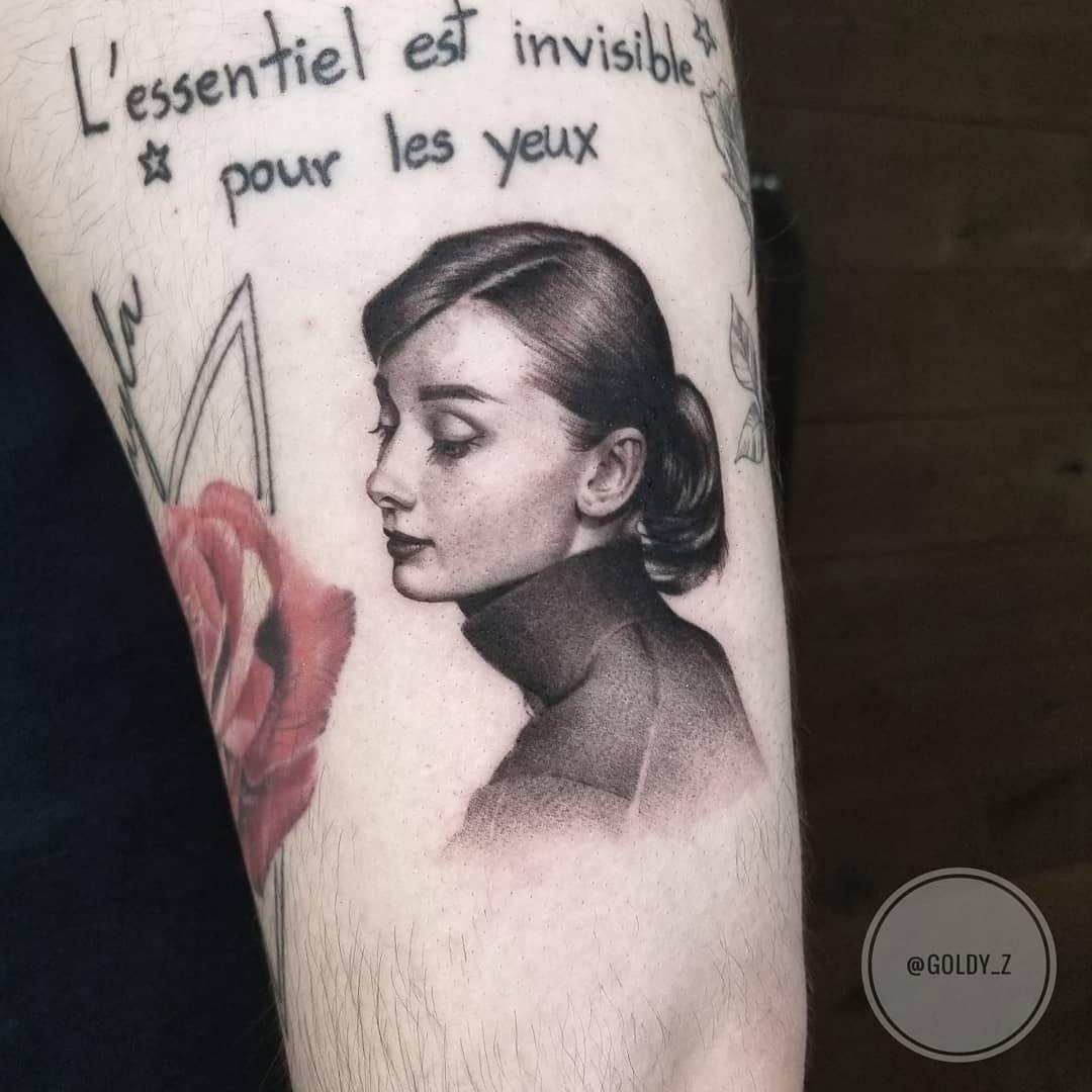 "Zlata Kolomoyskaya on Instagram: ""Classic Audrey ❤ #classic #audreyhepburn #oldphoto #actress #portrait #taot #tattoo #realism #phototattoo #ttblackink #instaart #instaink…"""