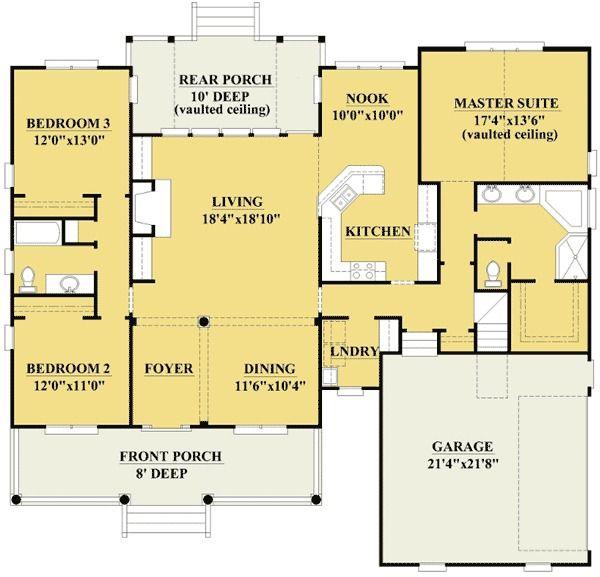 Plan 15088NC: Three Bedrooms And A Bonus Room