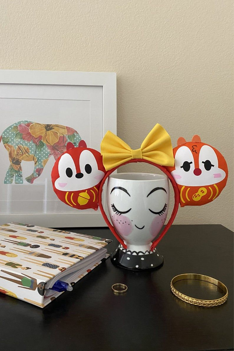 Chipmunk Inspired Ears / Kawaii Mouse Ears / Daruma Doll
