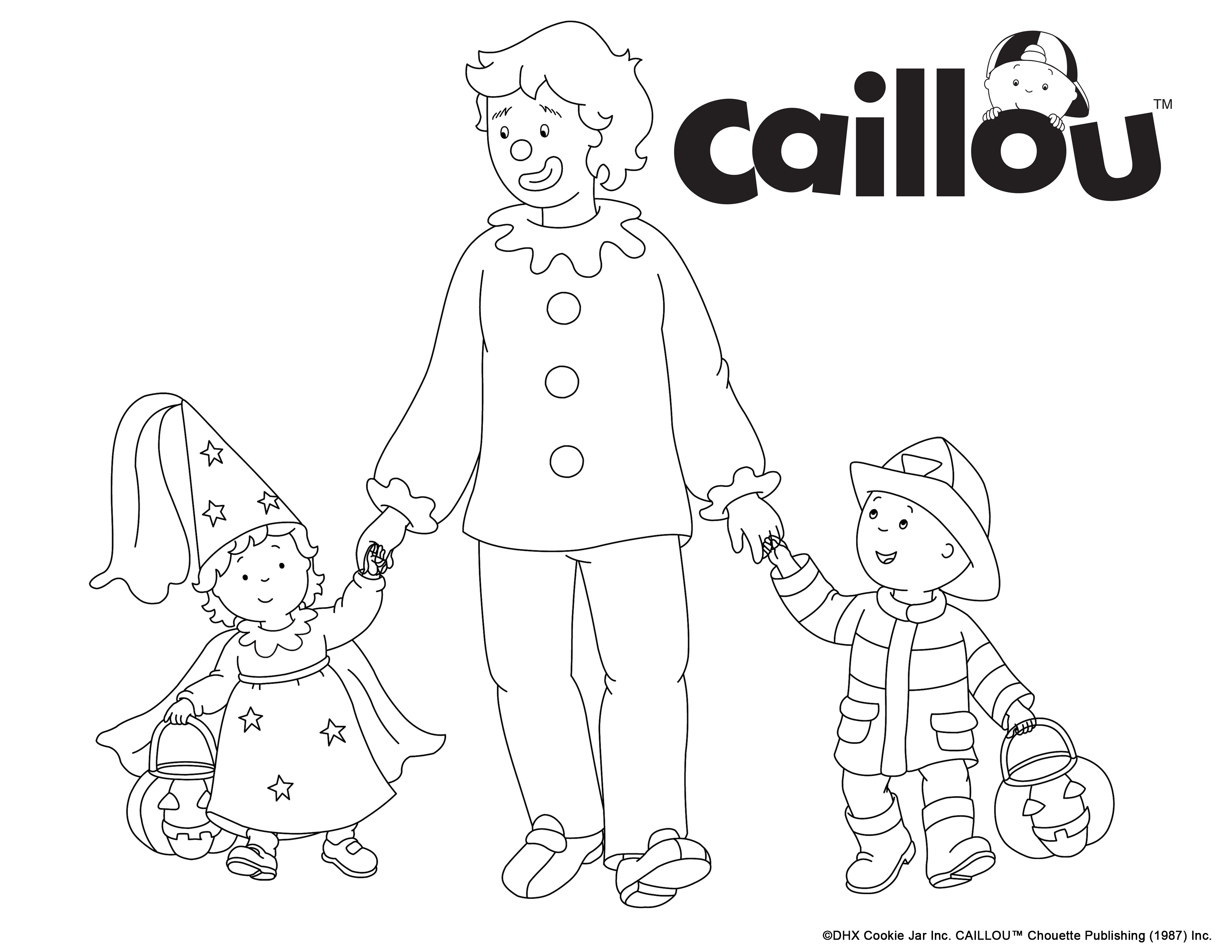 Caillou coloring games online - Print Colour Little Ones Love This Coloring Sheet Of Caillou Trick Or