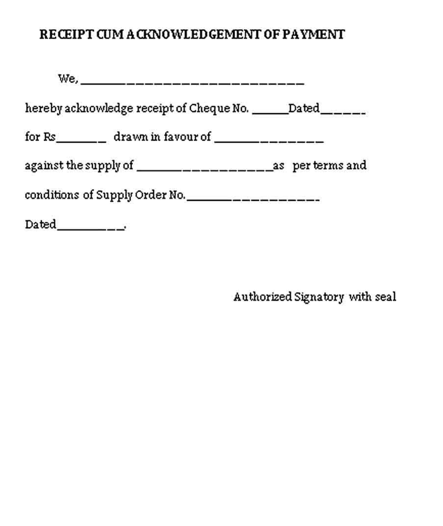 Acknowledgement Receipt Template Receipt Template Business Template Receipt
