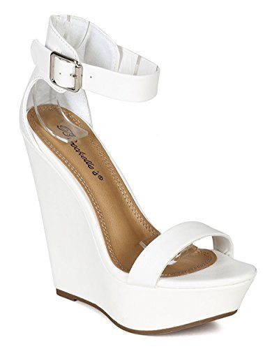 04d012da651d Breckelles CB04 Women Leatherette Single Band Ankle Strap Platform Wedge  Sandal White Size 90     Be sure to check out this awesome product.