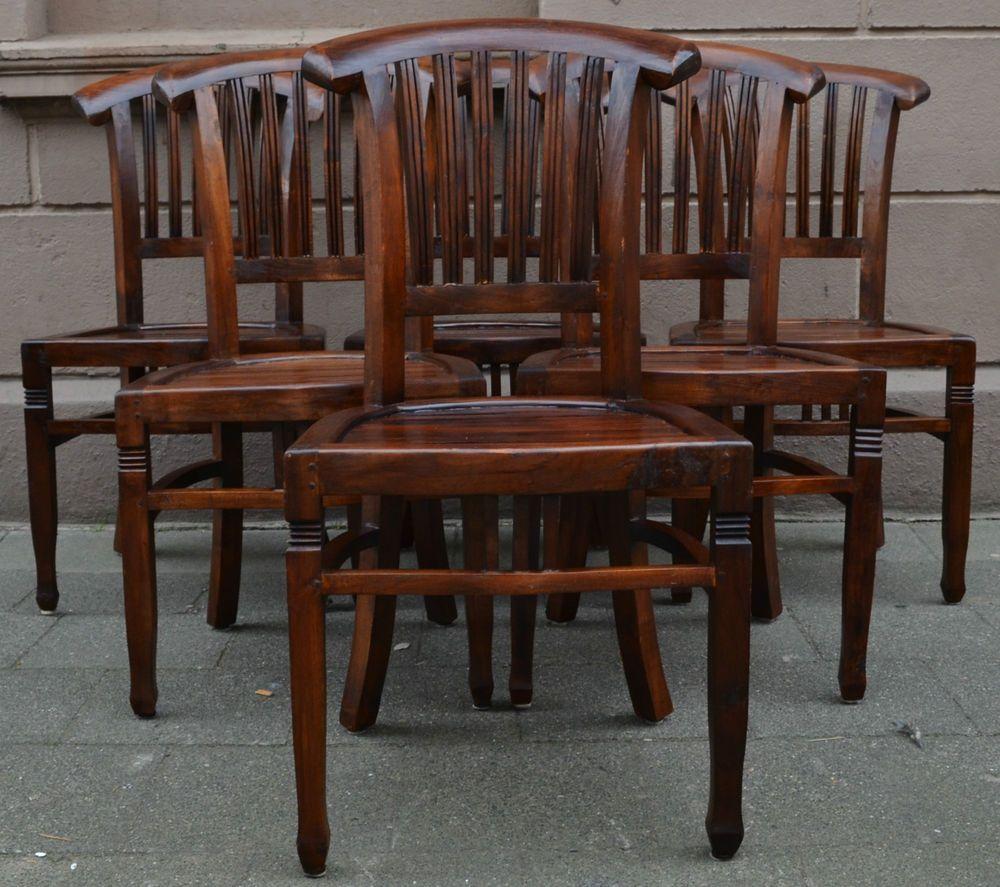 6 Antike Jugendstil Stühle Aus Eiche Massiv Top Zustand