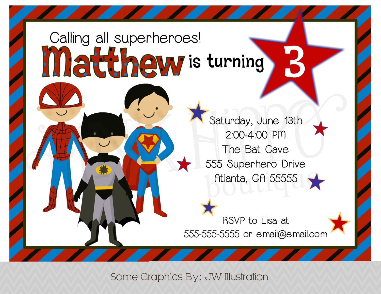 Superhero BOY Birthday Invitation-DIY PRINTABLE Digital Invitation ...