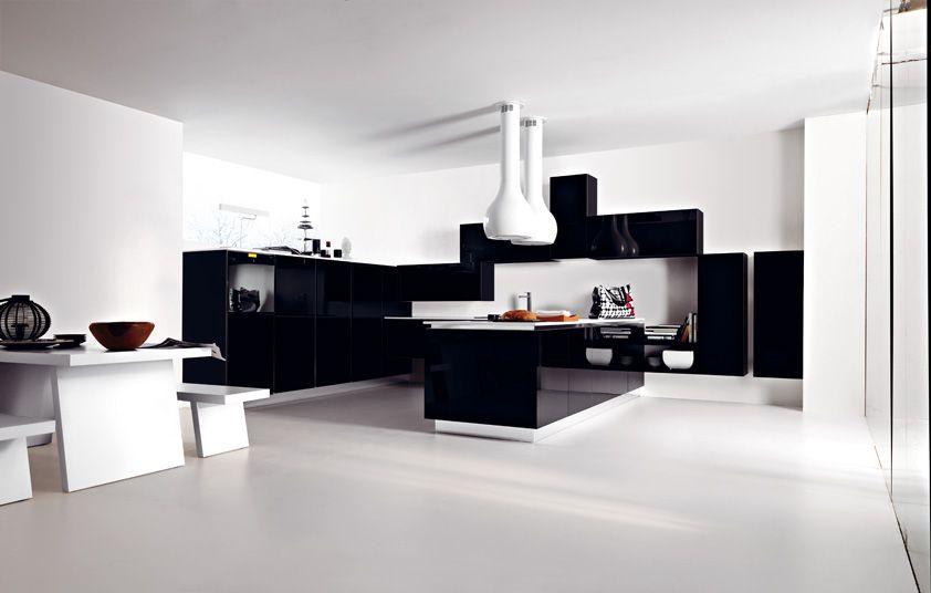 Ariel in eco-gloss nero lucido Ariel in eco-gloss black #Cesar - modern küche design