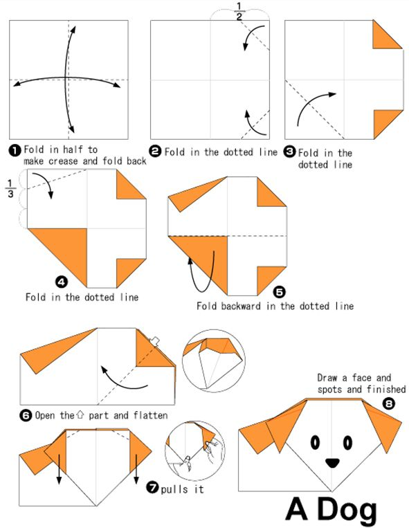 Lets Try Kids Simple Folding Steps To Make Origami Dog Origami
