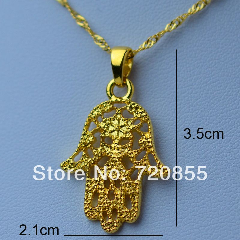 Hamsa hand pendant necklaces18k gold plated jewelry women and hamsa hand pendant necklaces18k gold plated jewelry women and girlnazar hand of mozeypictures Image collections