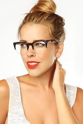 2a871e0dd2 Kenzie Unisex Rimless Flat Top Clear Glasses - Gloss Tortoise non-prescription  clear glasses