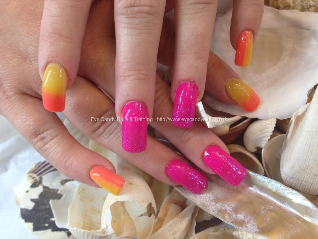 Yellow and gel 3 gel polish fade with pink glitter fade | Nails ...