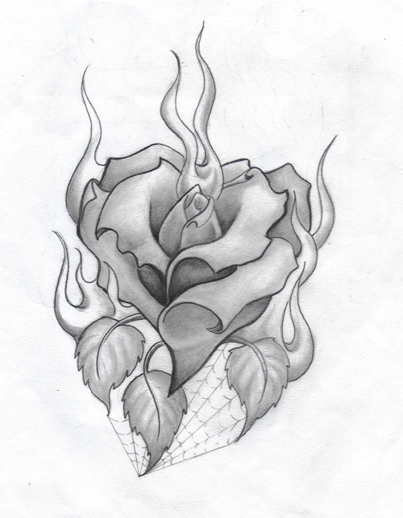 Heart and Roses Tattoo Drawings | Rose And Heart Tattoo ...