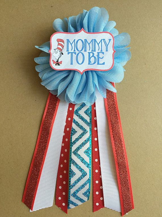 Cat in the hat red blue Baby Shower Mommy-to-be Flower Ribbon Pin Corsage…